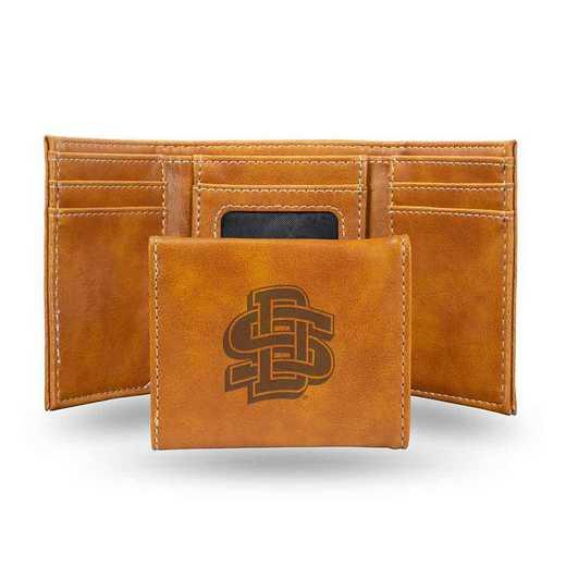 LETRI410901BR: South Dakota State Laser Engraved Brown Trifold Wallet