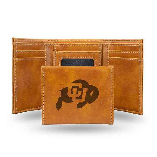 LETRI500101BR: Colorado Laser Engraved Brown Trifold Wallet