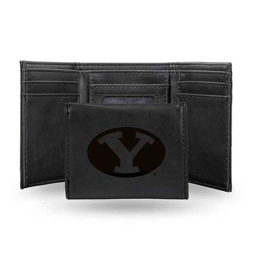 LETRI510201BK: Brigham Young Laser Engraved Black Trifold Wallet