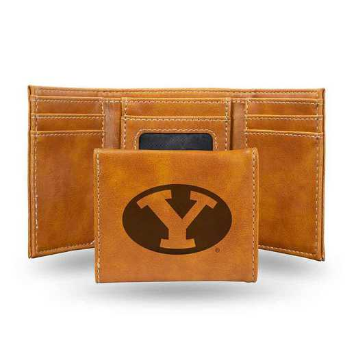 LETRI510201BR: Brigham Young Laser Engraved Brown Trifold Wallet