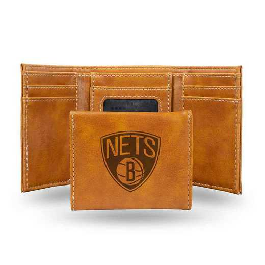 LETRI67001BR: Brooklyn Nets Laser Engraved Brown Trifold Wallet