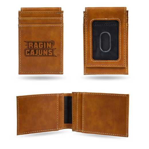 LEFPW170301BR: Louisiana-Lafayette Laser Engraved Brown Front Pocket Wallet