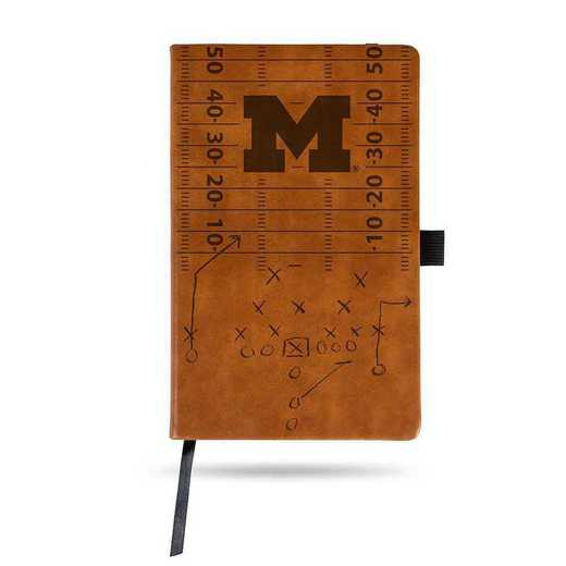 LESPD220001BR: MICHIGAN UNIVERSITY LASER ENGRAVED BROWN NOTEPAD