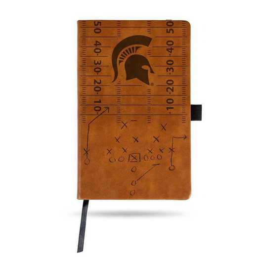 LESPD220101BR: MICHIGAN STATE LASER ENGRAVED BROWN NOTEPAD