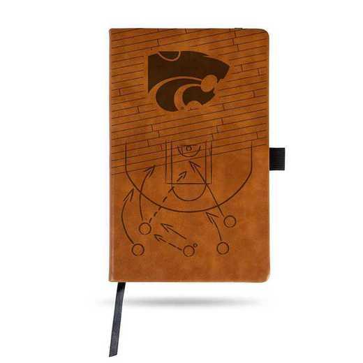LESPD310201BR-B: KANSAS STATE UNIVERSITY BASKETBALL ENGRAVED BROWN NOTEPAD