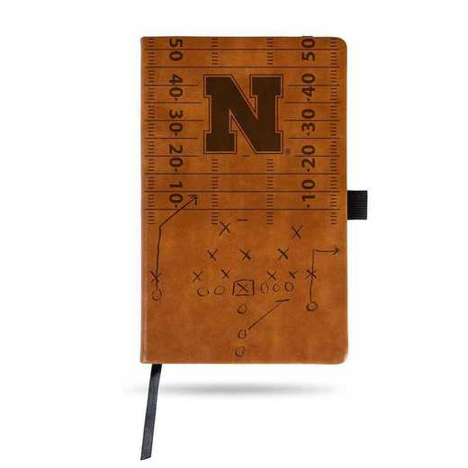 LESPD410101BR: NEBRASKA UNIVERSITY LASER ENGRAVED BROWN NOTEPAD