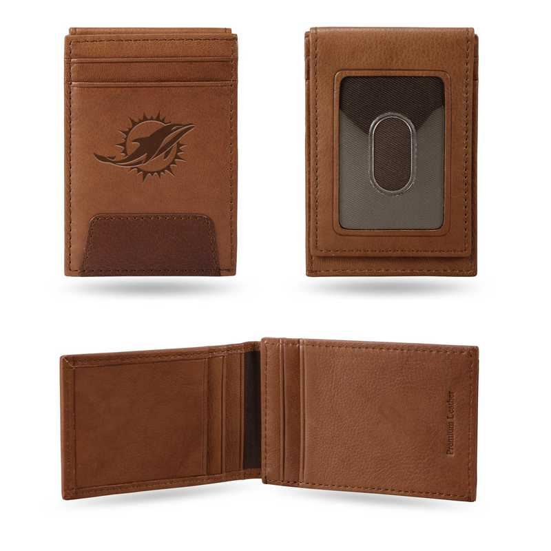 FPW1101: DOLPHINS PREMIUM LEATHER FRONT POCKET WALLET