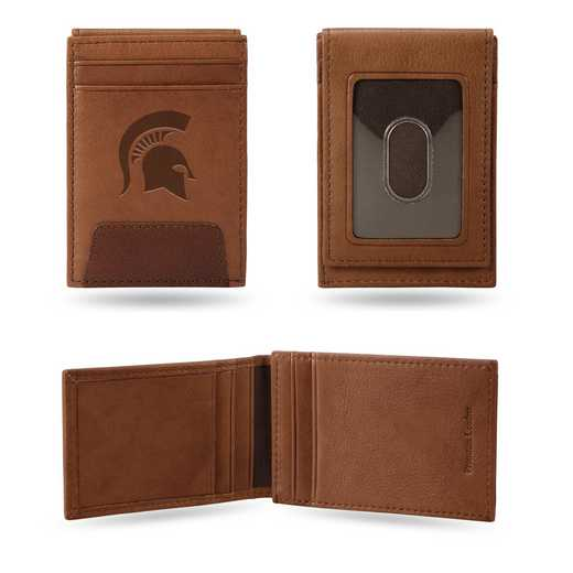 FPW220101: MICHIGAN STATE PREMIUM LEATHER FRONT POCKET WALLET