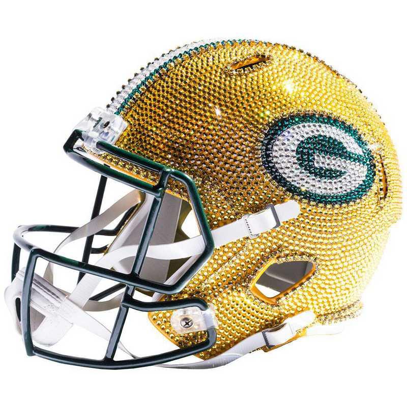 Green Bay Packers Swarovski Crystal Adorned Mini Helmet By Rock On Sports
