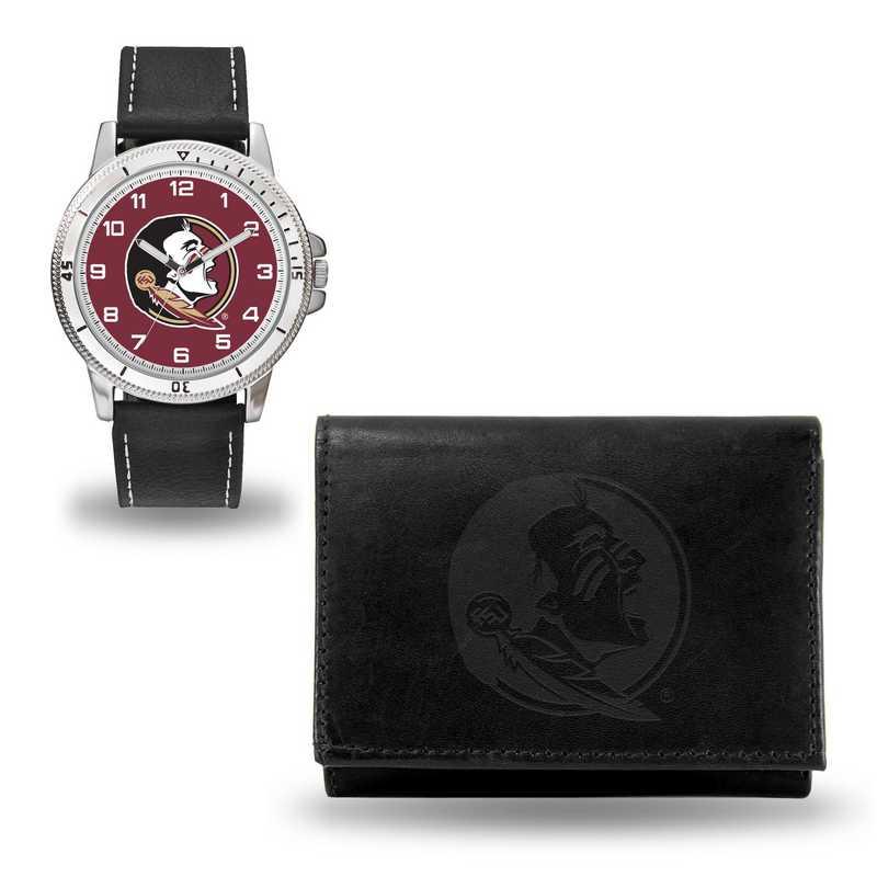 WTWAWA100202: Florida State Seminoles Black Watch and Wallet Set