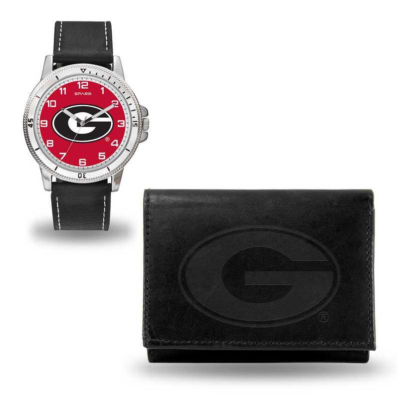 WTWAWA110102: Georgia Bulldogs Black Watch and Wallet Set