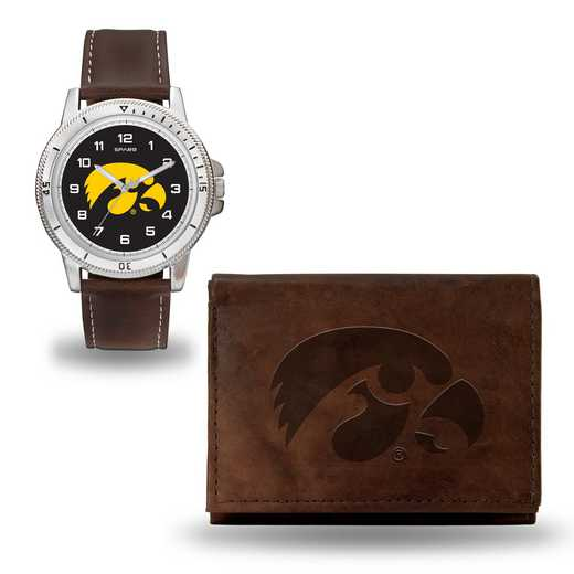 WTWAWB250101: Iowa Hawkeyes Brown Watch and Wallet