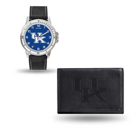 WTWAWA190102: Kentucky Wildcats Black Watch and Wallet Set