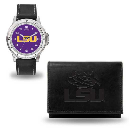 WTWAWA170101: LSU Tigers Black Watch and Wallet Set