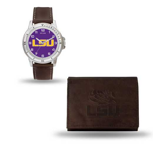 WTWAWB170101: LSU Tigers Brown Watch and Wallet