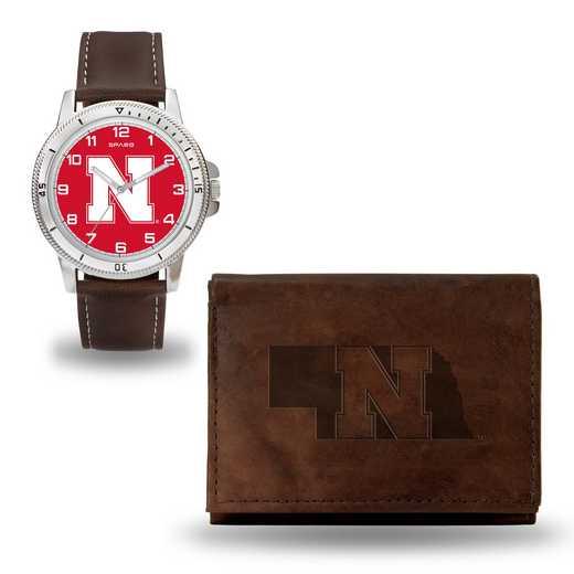 WTWAWB410102: Nebraska Cornhuskers Brown Watch and Wallet