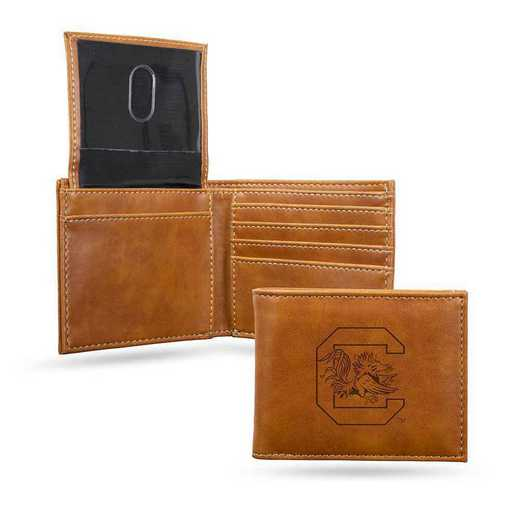 LEBIL120101BR: South Carolina Laser Engraved Brown Billfold Wallet