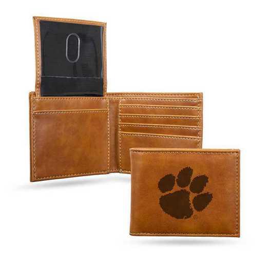 LEBIL120201BR: Clemson Laser Engraved Brown Billfold Wallet