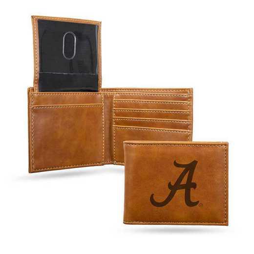 LEBIL150101BR: Alabama Laser Engraved Brown Billfold Wallet