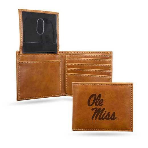 LEBIL160201BR: Mississippi Laser Engraved Brown Billfold Wallet