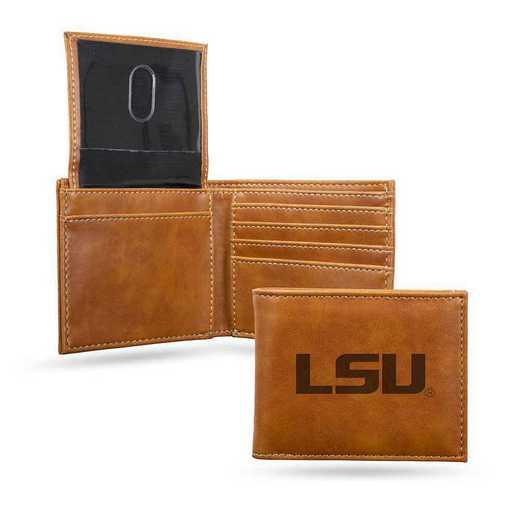 LEBIL170101BR: Louisiana State Laser Engraved Brown Billfold Wallet