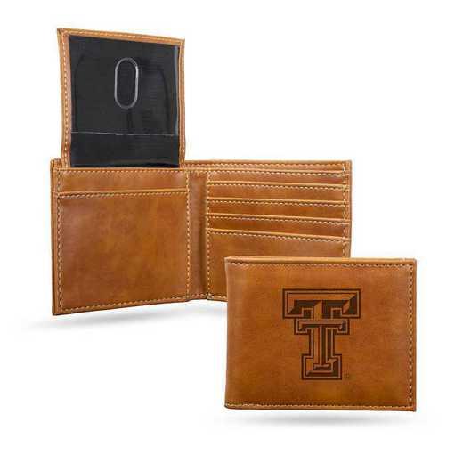 LEBIL260801BR: Texas Tech Laser Engraved Brown Billfold Wallet