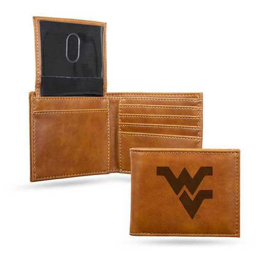 LEBIL280101BR: West Virginia Laser Engraved Brown Billfold Wallet