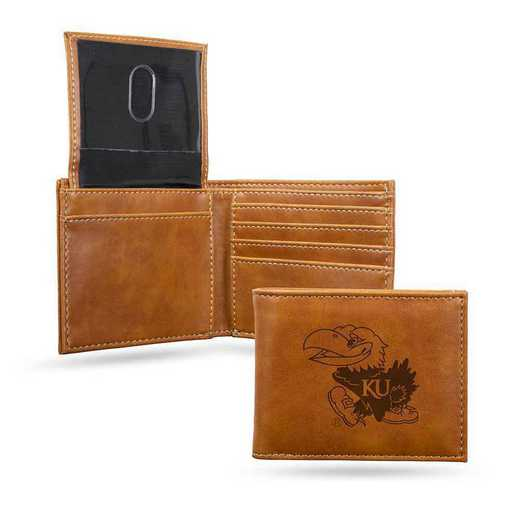 LEBIL310101BR: Kansas Laser Engraved Brown Billfold Wallet