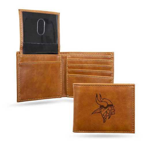 LEBIL3101BR: Minnesota Vikings Laser Engraved Brown Billfold Wallet