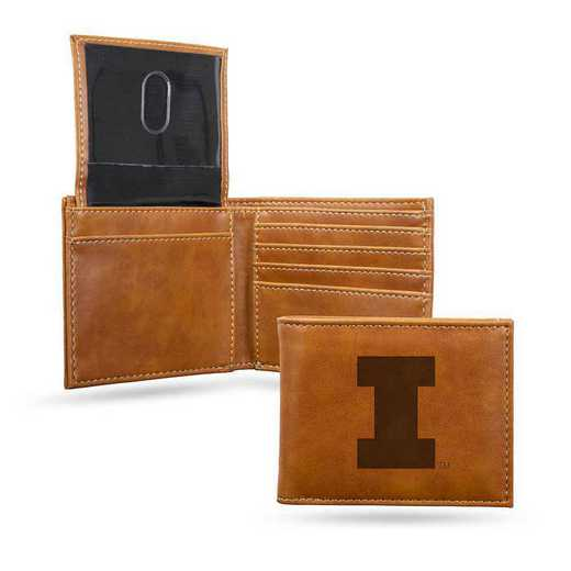 LEBIL400101BR: Illinois Laser Engraved Brown Billfold Wallet