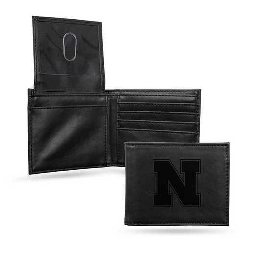 LEBIL410101BK: Nebraska Laser Engraved Black Billfold Wallet