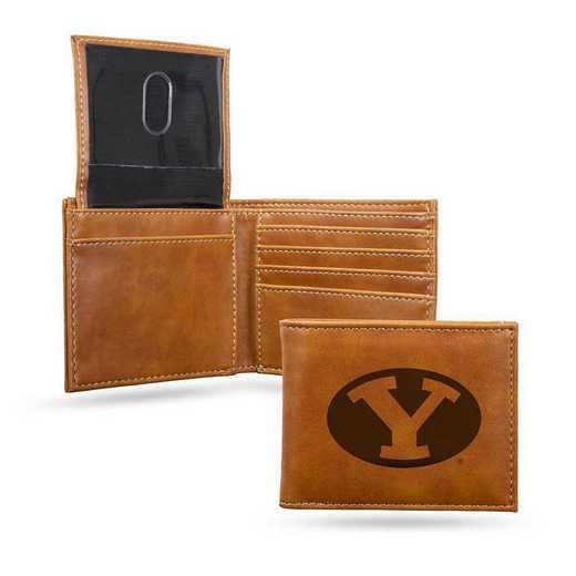 LEBIL510201BR: Brigham Young Laser Engraved Brown Billfold Wallet