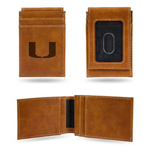LEFPW100301BR: Miami Laser Engraved Brown Front Pocket Wallet