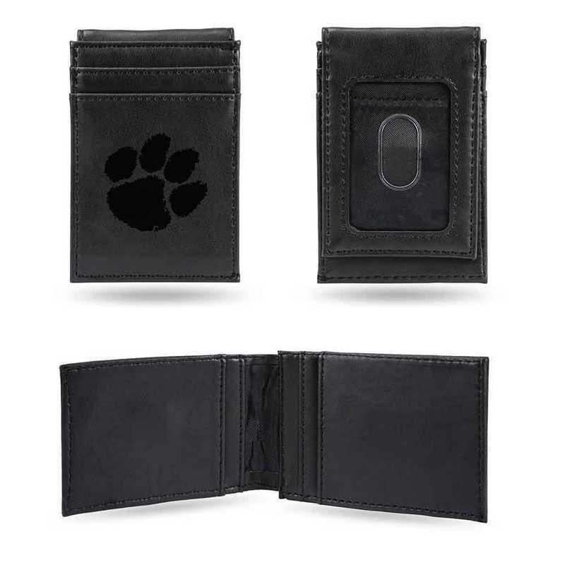 LEFPW120201BK: Clemson Laser Engraved Black Front Pocket Wallet