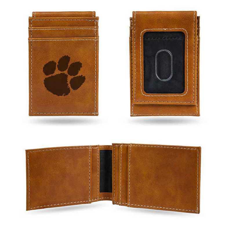 LEFPW120201BR: Clemson Laser Engraved Brown Front Pocket Wallet