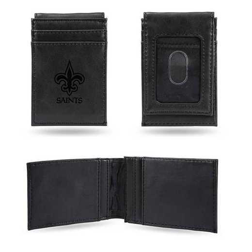LEFPW1301BK: New Orleans Saints Laser Engraved Black Front Pocket Wallet