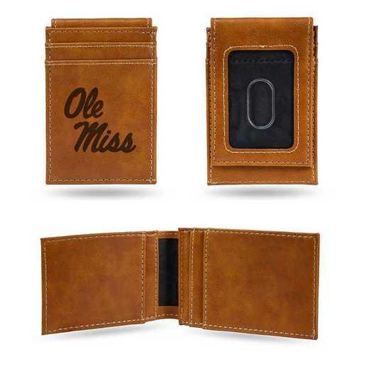 LEFPW160201BR: Mississippi Laser Engraved Brown Front Pocket Wallet