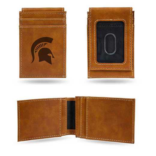 LEFPW220101BR: Michigan State Laser Engraved Brown Front Pocket Wallet