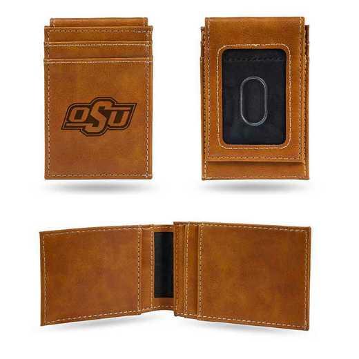 LEFPW230001BR: Oklahoma State Laser Engraved Brown Front Pocket Wallet