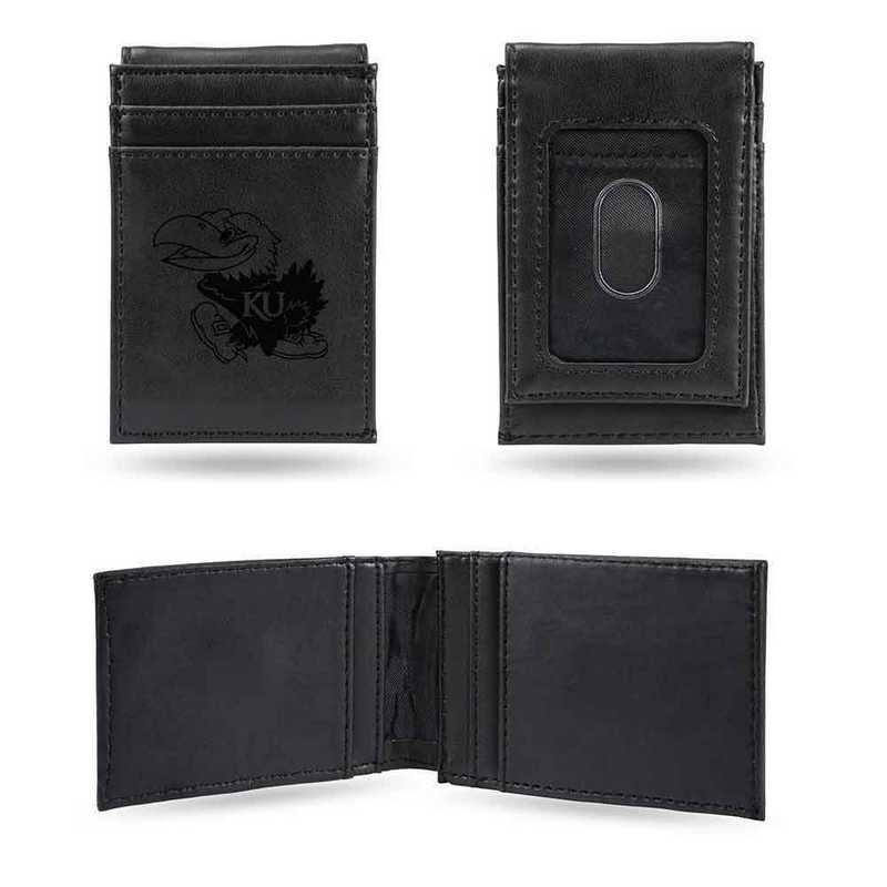 LEFPW310101BK: Kansas Laser Engraved Black Front Pocket Wallet