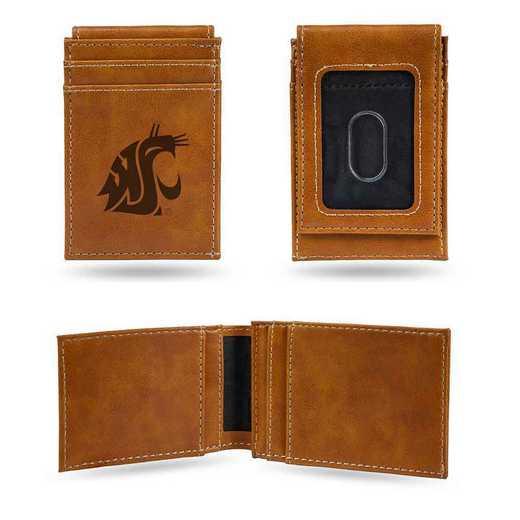 LEFPW490101BR: Washington State Laser Engraved Brown Front Pocket Wallet