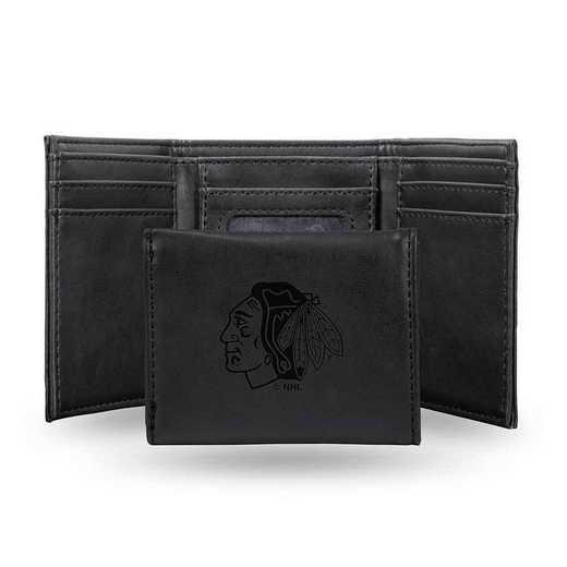 LETRI7701BK: Chicago Blackhawks Laser Engraved Black Trifold Wallet