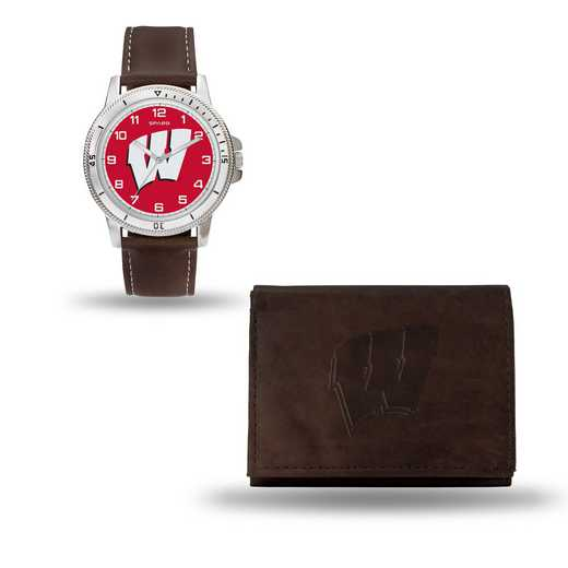 WTWAWB450106: Winsconsin Badgers Brown Watch and Wallet