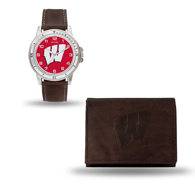 WTWAWB450106: Wisconsin Badgers Brown Watch and Wallet