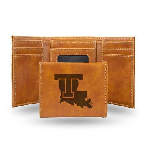 LETRI170701BR: Louisiana Tech Laser Engraved Brown Trifold Wallet