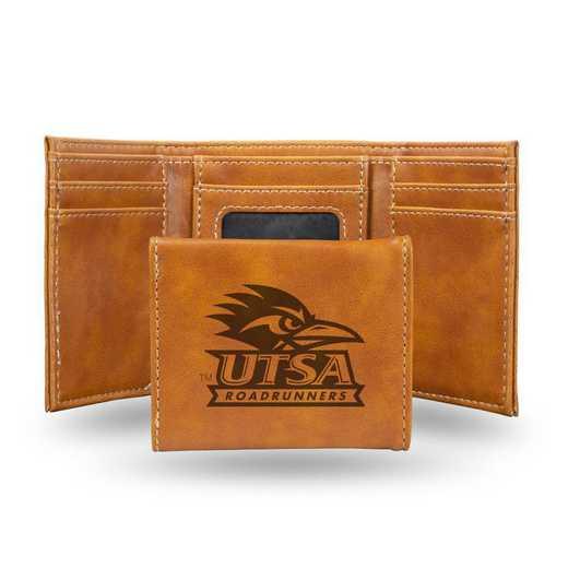LETRI261101BR: Texas-San Antonio Laser Engraved Brown Trifold Wallet