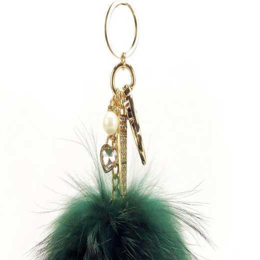 H160426-12-FRNGRN-G: Pom Pom Fur Ball Keychain Accessory Bag Dangle in Fern GRN