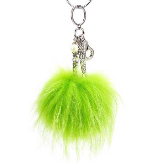 H160426-12-LMGRN-S: Pom Pom Fur Ball Keychain Accessory Bag Dangle in Lime GRN