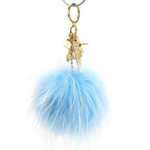 H160426-12-LTBLU-G: Pom Pom Fur Ball Keychain Accessory Bag Dangle in Lite BLU