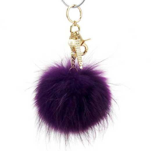H160426-12-RP-G: Pom Pom Fur Ball Keychain Accessory Bag Dangle in Ryl Purple